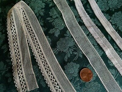 """3 netting  Antique French Val lace Vintage  trim  lot 5 yards +29""""   dolls"""