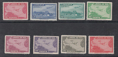 Liberia # C37-44 MNH 1942-44 Airmail SetAirplane Map