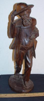 Unique Old Carved Wooden Spanish Beggar Bogota Columbia Figure Statue