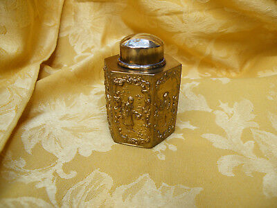 Small Silver Plated, Gold Washed Tea Caddy
