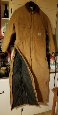 CARHARTT Mens USA Made Artic Quilted Insulated Coveralls-Size 44 Short
