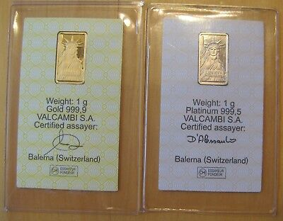 1 Gram Gold Bar + 1 Gram Platinum Bar - Credit Suisse In Assay Cards
