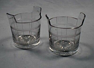 A pair of crystal glass piggins with engraved decoration, English c.1880