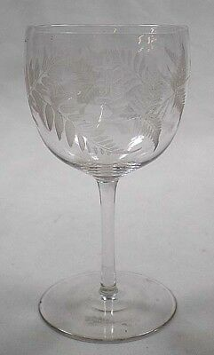 A crystal wine glass engraved with ferns and 'B', English c.1880