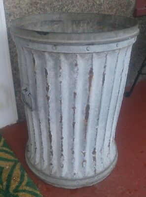"""Antique 26"""" Large And Heavy Galvanized Metal Garbage Trash Industrial Street Can"""