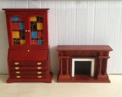 Victorian Dolls House Furniture 1:12  Wooden Fireplace U0026the Book Case   Bundle