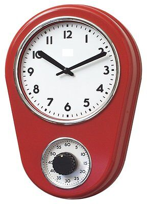 Lily's Home Retro Kitchen Timer Wall Clock,Bell Shape Red, NO TAX, Free Shipping