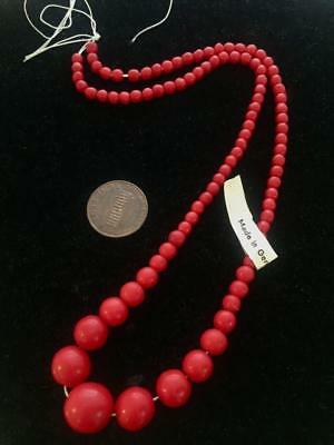 Vintage Red Glass Graduating Beads Temporary Strand West Germany 95