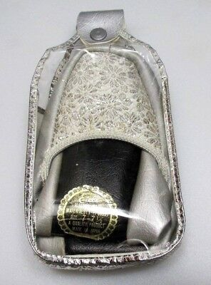 Vintage ETELL Ladies Travel Slippers Silver in Case  size: 7-71/2- Unused