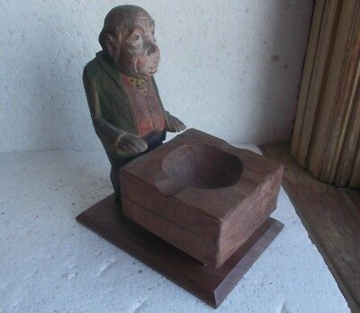 Antique Hand Carved Wood Folk Art Old Man With Carved Wood Block Ashtray