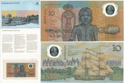 1988 ONLY Australia $10 COMMEMORATIVE NOTE in Folder WORLD'S 1st POLYMER PLASTIC