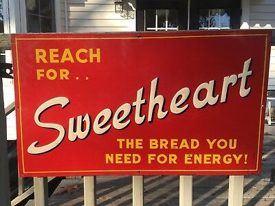 RARE Reach For.. Sweetheart Bread Tin Advertising Sign 27.5x16
