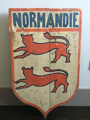 Antique French Normandie Wood Wall Shield - Very Unique
