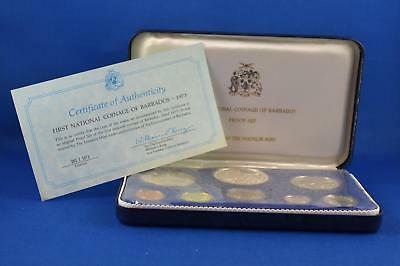1973 First National Coinage Of Barbados Eight Piece Coin Proof Set