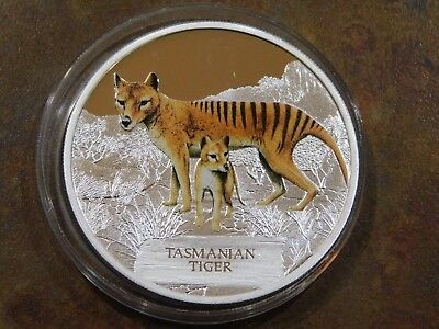 Tuvalu 2011 Endangered + Extinct 1st In Series Tasmanian Tiger Silver Proof Coin