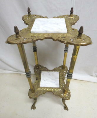 Antique 1920s French Brass & Marble Plant Fern Stand Hall Foyer Table Lamp Side
