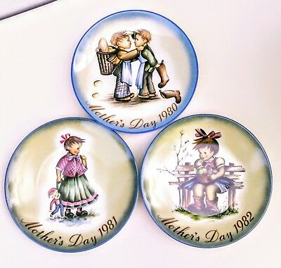 Lot of 3 BERTA HUMMEL Annual Plates Complete 1980 Through 1982 Mothers Day!