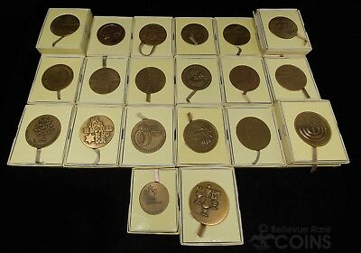 Set of 23 Israel State Bronze Medals with Original Packaging and Assorted Design