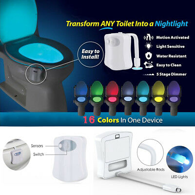 Toilet WC Night Light 16 Color LED Motion Activated Sensor Sensing Automatic
