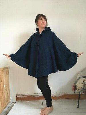 Cape Midnight Blue Hooded 100% Wool Hand Made