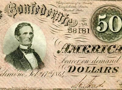 HGR SUNDAY 1864 $50 Confederate ((Stunning)) Appears UNCIRCULATED