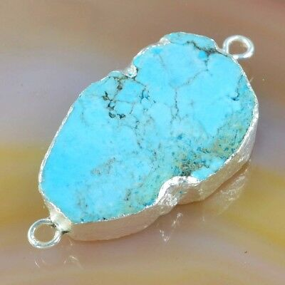 Blue Howlite Turquoise Connector Silver Plated T050067