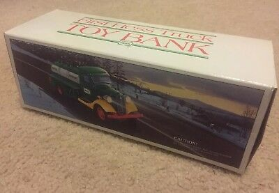 Vintage Minty In Box 1985 First Hess Truck Toy Bank W/ All Cardboard And Inserts