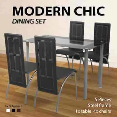 5pc Dining Set Glass Table 4 Black/White/Brown Artificial Leather Chairs Kitchen