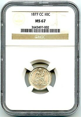 1877-CC Liberty Seated Dime NGC MS-67, Stunning Bright Luster, Very Rare, Nice!