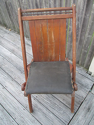 Vtg Antique Wood Slat Iron Leather Rivet Folding Chair INDUSTRIAL Steampunk