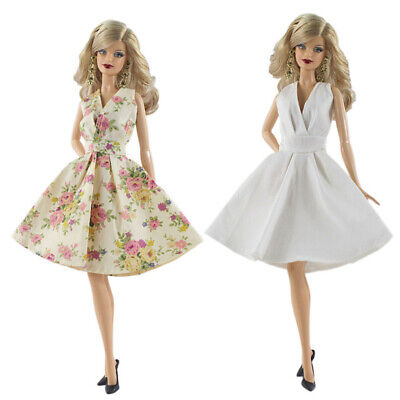 2x Fancy Dress for Doll Party Ball Gown Skirt Outfit Clothes Sundress