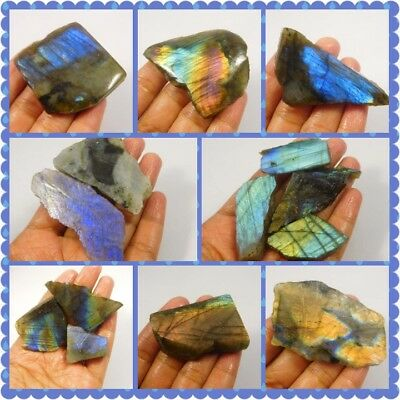100% Natural Blue/Yellow Flashy Labradorite Slice Mineral Specimen NG10750-10787