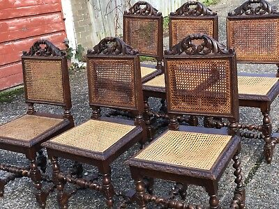6 Antique Barley Twist Carved Chairs
