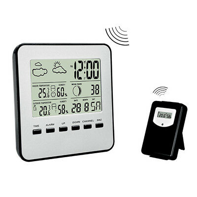 Digital Wireless Weather Station Thermometer Humidity Indoor Outdoor w/ 2 sensor