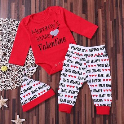 Newborn Baby Boys Girl Romper Tops Long Pants Print Hat Clothes Set Outfit 3Pcs