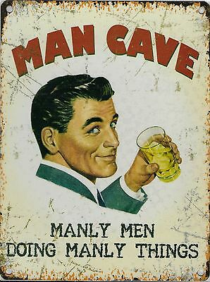 """New 15x20cm Man Cave """"manly men doing manly things"""" small metal wall sign"""