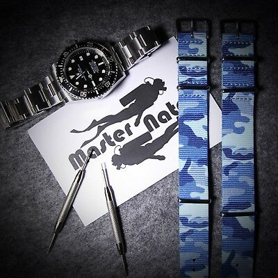Blue Camouflage ZULU Nylon NATO Strap G10 Army Watches For 18mm 20mm 22mm