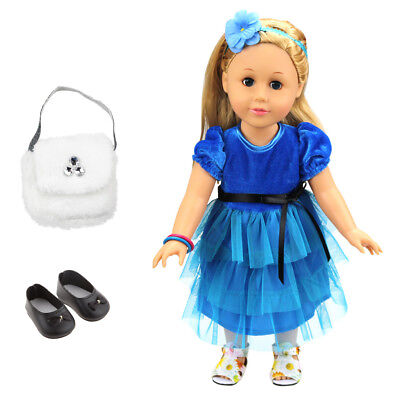 Doll Clothes Party Dress Outfit for 18 Inch American Girl Doll - 3 Pieces