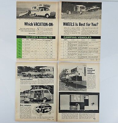 1965 RV Campers Magazine Article Clipping - Motor Homes, Tent Trailers, more