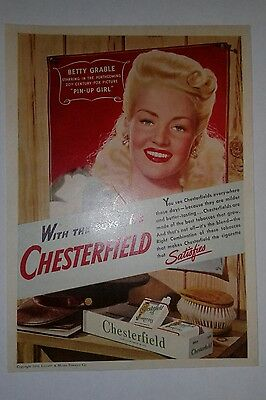 Vintage Chesterfield Cigarette Ad with Pin Up Girl Betty Grable 1944