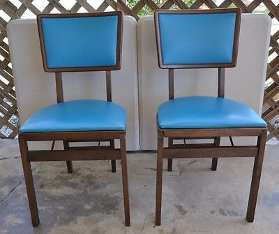 2 Stakmore Vintage Mid Century  Folding Chairs  with Original Government Tags!