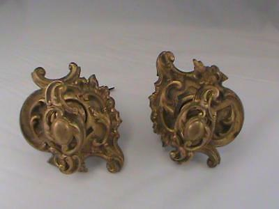 Pair Victorian Thomas Elsley Solid Heavy Brass Handles Original Fireplace Pulls