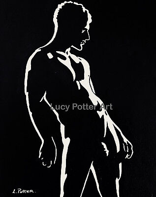 Original Signed Acrylic Painting 'Freddie' Male Erotic Nude Naked Canvas Board
