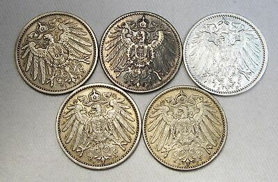 5 Germany Empire 1 Mark Silver Coins Estate Lot 1904-1908 VF-XF AC867