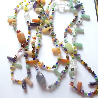 VINTAGE 1970's COLOURFUL GENUINE STONE & GLASS BEADS GEMSTONE BEADED NECKLACE
