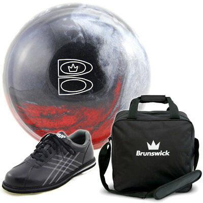 Bowling Ball Set: TZone Scarlet Shadow & Bag schwarz & DV8 Tactic Bowlingschuhe