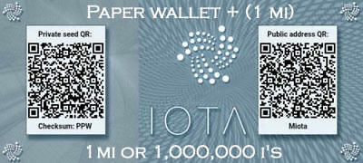 IOTA PAPERWALLET + CryptoCurrency 1 Mi / 1'000'000i Iota mailed to you
