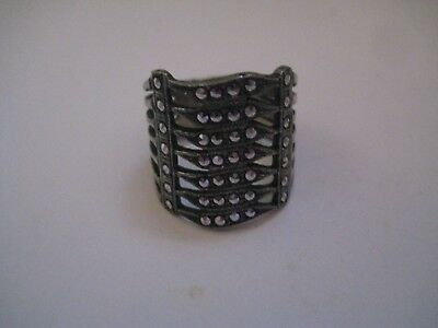 Wide Band Sterling Silver .925 And Marcasite Stones Ring Size 7.5