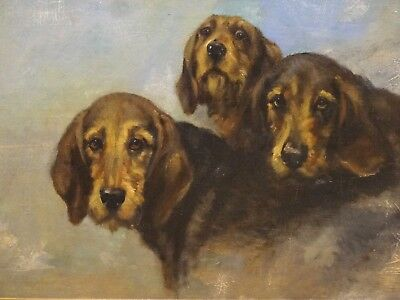 Fine Large 19th Century English Portrait Three Hounds Dogs Antique Oil Painting