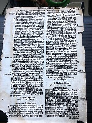Original 1541 Great Bible leaf From PSALMS 72 to 74